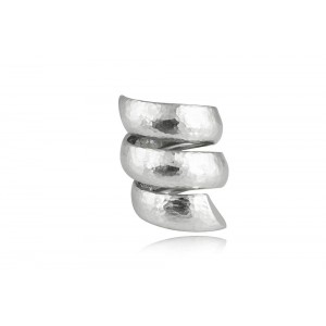 Σφυρήλατο δαχτυλίδι κρουαζέ από επιροδιωμένο ασήμι 925°