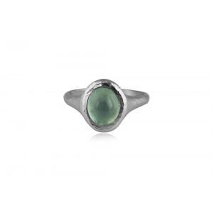 Σφυρήλατο δαχτυλίδι με ακουαμαρίνα από επιροδιωμένο ασήμι 925°