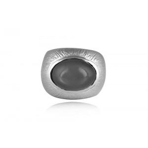 Δαχτυλίδι με φεγγαρόπετρα από επιροδιωμένο ασήμι 925°