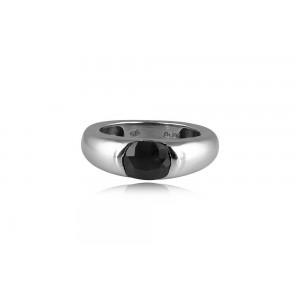 Δαχτυλίδι με σκούρο μπλε ζαφείρι από επιροδιωμένο ασήμι 925°