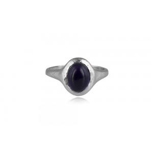 Σφυρήλατο δαχτυλίδι με αμέθυστο από επιροδιωμένο ασήμι 925°