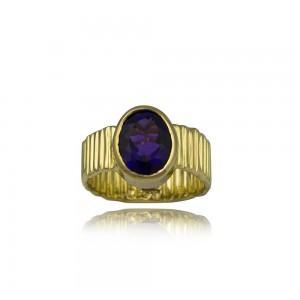Δαχτυλίδι με αμέθυστο τσαλακωτό από χρυσό Κ18