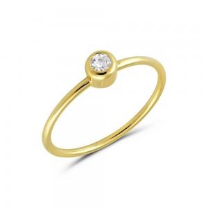 Μονόπετρο δαχτυλίδι από κίτρινο χρυσό Κ14 με διαμάντι (κοπή μπριγιάν)