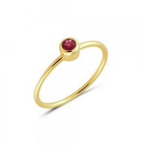 Μονόπετρο δαχτυλίδι από χρυσό Κ14 με ρουμπίνι