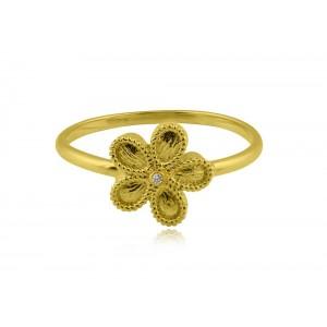 Αρχαϊκό δαχτυλίδι μαργαρίτα από χρυσό Κ18 με διαμάντι