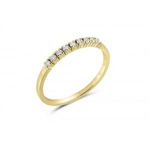 Δαχτυλίδι σειρέ από κίτρινο χρυσό Κ18 και διαμάντια 0.13ct