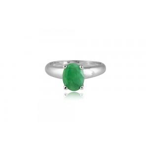 Δαχτυλίδι με οβάλ σμαράγδι από επιροδιωμένο ασήμι 925°