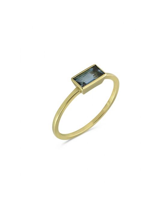 Δαχτυλίδι με ακουαμαρίνα από χρυσό Κ14