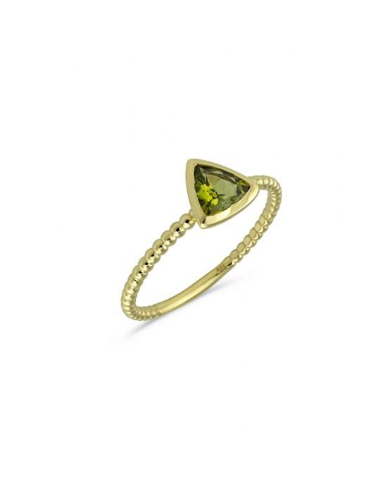 Δαχτυλίδι με πράσινη τουρμαλίνη σε κοπή trilliant από χρυσό Κ14