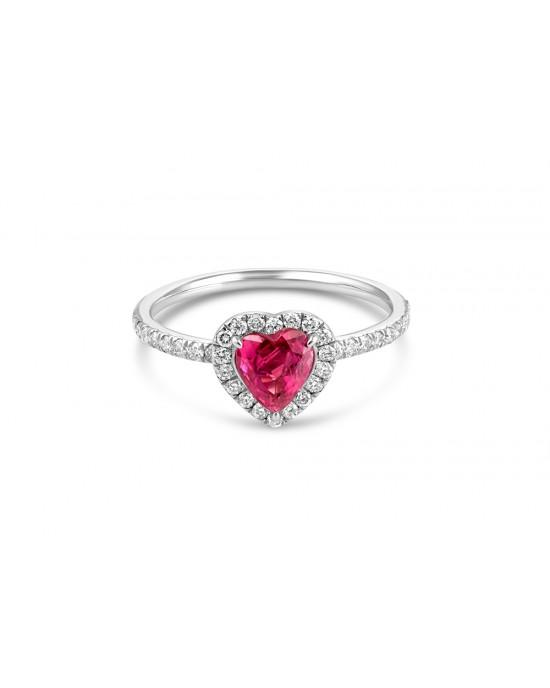 Δαχτυλίδι ροζέτα με ρουμπίνι σε σχήμα καρδιάς και διαμάντια από λευκόχρυσο Κ18