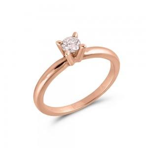 Μονόπετρo δαχτυλίδι από ροζ χρυσό Κ18 και διαμάντι μπριγιάν 0.18ct