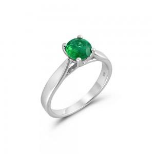 Μονόπετρο δαχτυλίδι από λευκόχρυσο Κ18 με σμαράγδι Ζάμπιας 0.69ct