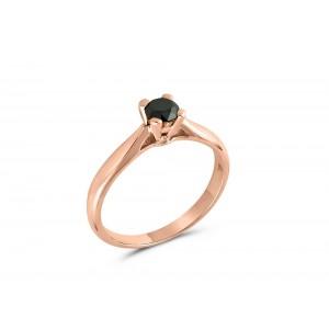 Μονόπετρο δαχτυλίδι από ροζ χρυσό Κ18 με μαύρο διαμάντι 0.35ct