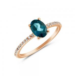 Δαχτυλίδι από ροζ χρυσό Κ18 με μπλε τοπάζι και διαμάντια