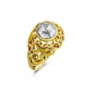 Vintage Μονόπετρο δαχτυλίδι από Χρυσό Κ18 με διαμάντι
