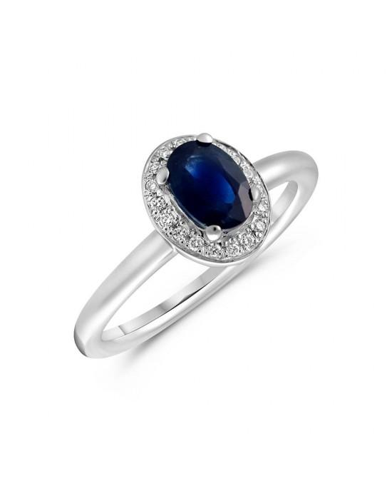Δαχτυλίδι ροζέτα από λευκό χρυσό με μπλε ζαφείρι και διαμάντια - μπριγιάν