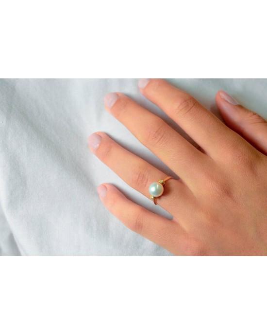 Δαχτυλίδι με μαργαριτάρι και διαμάντια από χρυσό Κ18 vintage