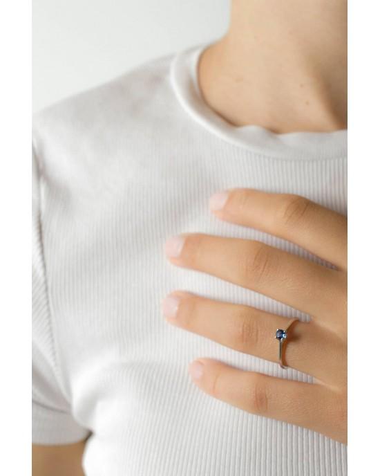 Μονόπετρο δαχτυλίδι από λευκόχρυσο Κ18 με μπλε ζαφείρι 0.35ct