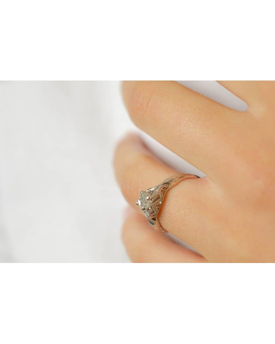 Vintage μονόπετρο δαχτυλίδι Edwardian αισθητικής  από λευκόχρυσο Κ18 με διαμάντι 0.34ct rose cut