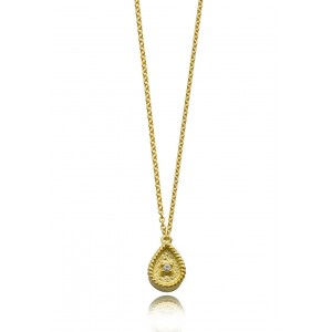 Βυζαντινό κολιέ σταγόνα από χρυσό Κ18 με διαμάντι