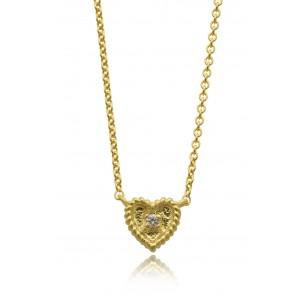Βυζαντινό κολιέ από χρυσό Κ18 με διαμάντι