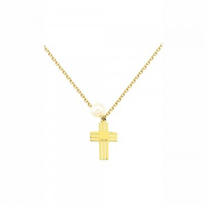 Κολιέ από Χρυσό Κ14 Σταυρός Ekan