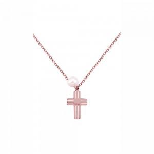 Κολιέ από Ροζ Χρυσό Κ14 Σταυρός Ekan