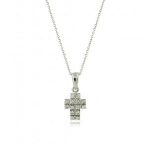 Γυναικείος σταυρός με διαμάντια από λευκόχρυσο Κ14