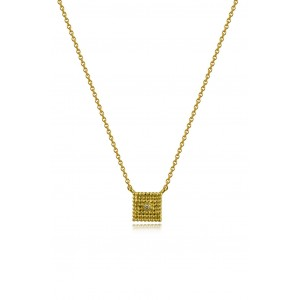 Αρχαϊκό κολιέ τετράγωνο 2 όψεων με κοκκίδωση από χρυσό Κ18 με διαμάντι