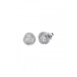 Σκουλαρίκια από Λευκό Χρυσό Κ18 με διαμάντια σε κοπή μπριγιάν 0,77ct