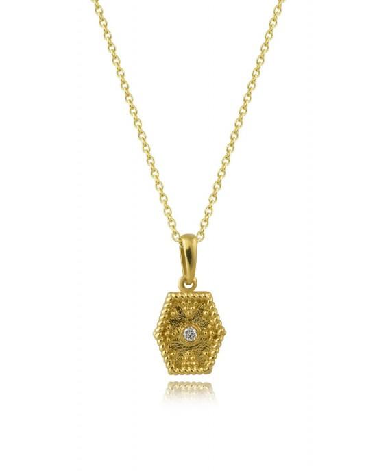 Βυζαντινό μενταγιόν σε εξάγωνο σχεδιασμό από χρυσό Κ18 με διαμάντι και αλυσίδα
