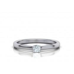 Μονόπετρo δαχτυλίδι λευκόχρυσο Κ18 με μπριγιάν 0.10ct