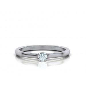 Μονόπετρo δαχτυλίδι λευκόχρυσο Κ18 με διαμάντι 0.09ct