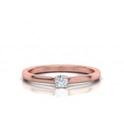 Μονόπετρο δαχτυλίδι ροζ χρυσός Κ18 με μπριγιάν 0.10ct