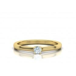 Μονόπετρo δαχτυλίδι χρυσό Κ18 με μπριγιάν 0.10ct