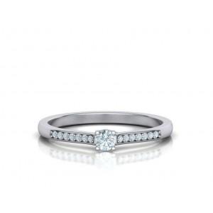 Μονόπετρο δαχτυλίδι λευκόχρυσο Κ18 με διαμάντι μπριγιάν 0.09ct και πέτρες στο πλάι