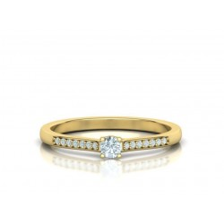Μονόπετρο δαχτυλίδι χρυσό Κ18 με μπριγιάν 0.10ct mε πέτρες στο πλάι