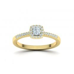 Μονόπετρο δαχτυλίδι σε γραμμή Halo από κίτρινο χρυσό Κ18 με κεντρικό μπριγιάν 0.15ct και πέτρες περιμετρικά και στο πλάι 0.28ct