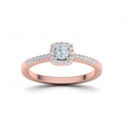 Μονόπετρο δαχτυλίδι σε γραμμή Halo από ροζ χρυσό Κ18 με κεντρικό μπριγιάν 0.15ct και πέτρες περιμετρικά και στο πλάι 0.28ct