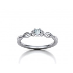 Μονόπετρo δαχτυλίδι λευκόχρυσο Κ18 με μπριγιάν 0.10ct άπειρο