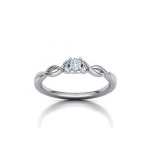 Μονόπετρο δαχτυλίδι λευκόχρυσο Κ18 με διαμάντι 0.09ct άπειρο