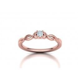 Μονόπετρo δαχτυλίδι ροζ χρυσός Κ18 με μπριγιάν 0.10ct άπειρο