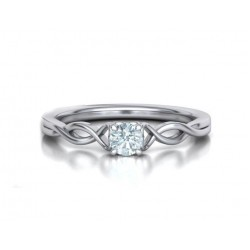 Μονόπετρo δαχτυλίδι λευκόχρυσο Κ18 με μπριγιάν 0.24ct άπειρο