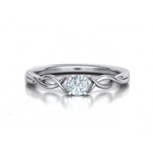 Μονόπετρo δαχτυλίδι λευκόχρυσο Κ18 με διαμάντι μπριγιάν 0.24ct άπειρο
