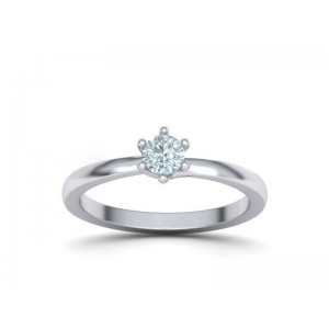 Μονόπετρo δαχτυλίδι φλόγα με 6 δόντια λευκόχρυσο Κ18 και διαμάντι 0.22ct