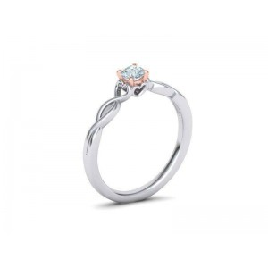 Μονόπετρo δαχτυλίδι δίχρωμο λευκόχρυσο με ροζ χρυσό καστόνι Κ18 με μπριγιάν 0.24ct άπειρο