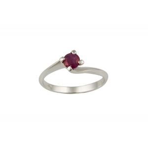Μονόπετρο δαχτυλίδι από λευκόχρυσο Κ18 με ρουμπίνι 0.29ct