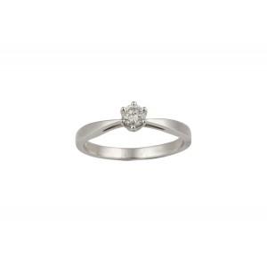 Μονόπετρo δαχτυλίδι με 6 δόντια λευκόχρυσο Κ18 και διαμάντι 0.19ct