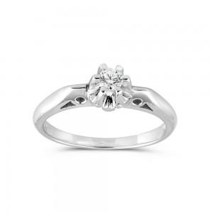 Μονόπετρο δαχτυλίδι vintage από λευκόχρυσο Κ18 με διαμάντι 0.10ct