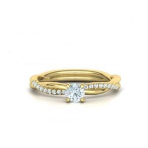 Μονόπετρο δαχτυλίδι άπειρο - πλεξούδα κίτρινος χρυσός Κ18 με διαμάντι 0.24ct και πέτρες στο πλάι